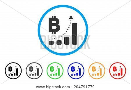 Bitcoin Bar Chart Positive Trend rounded icon. Style is a flat bitcoin bar chart positive trend grey symbol inside light blue circle with black, gray, green, blue, red, orange versions.