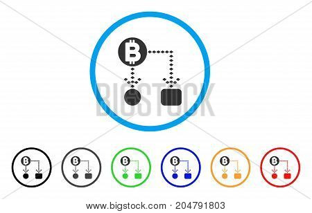 Bitcoin Cashflow Scheme rounded icon. Style is a flat bitcoin cashflow scheme grey symbol inside light blue circle with black, gray, green, blue, red, orange variants.