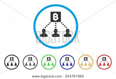 Bitcoin Recipients rounded icon. Style is a flat bitcoin recipients grey symbol inside light blue circle with black, gray, green, blue, red, orange variants.