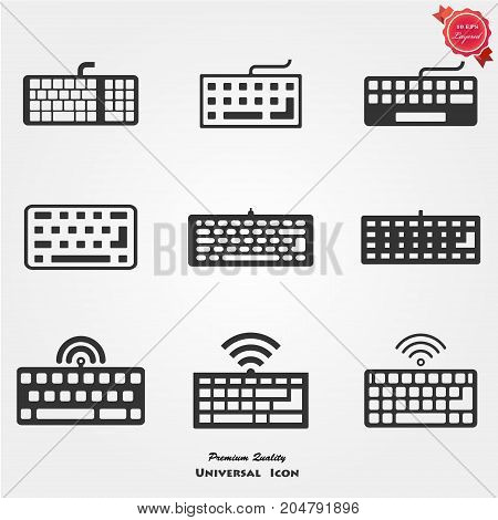 Keyboard Isolated Flat Web Mobile Icon, Vector, Sign, Symbol, Button Element Silhouette