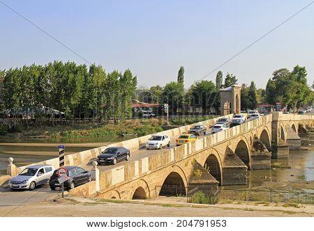 Bridge Over Meric River In Edirne, Turkey