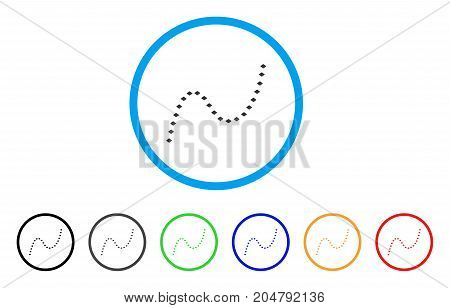 Dotted Curve rounded icon. Style is a flat dotted curve grey symbol inside light blue circle with black, gray, green, blue, red, orange versions. Vector designed for web and software interfaces.