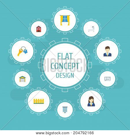 Flat Icons Broker, Casement, Woman Realtor And Other Vector Elements