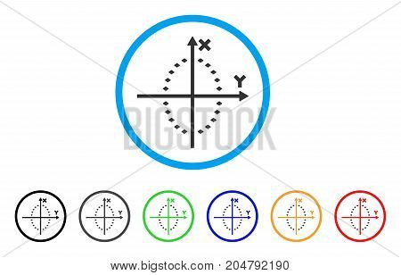 Dotted Ellipse Plot rounded icon. Style is a flat dotted ellipse plot grey symbol inside light blue circle with black, gray, green, blue, red, orange color versions.
