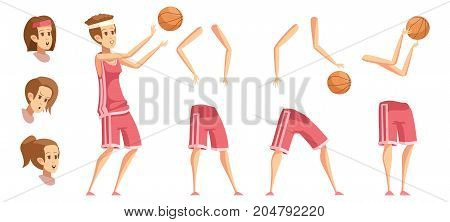 Sportswoman constructor retro cartoon set with isolated basketball player elements flat ball hands and bottoms images vector illustration
