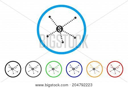 Dotted Financial Links rounded icon. Style is a flat dotted financial links gray symbol inside light blue circle with black, gray, green, blue, red, orange color versions.