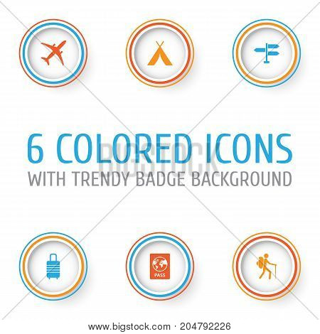 Traveling Icons Set. Collection Of Land, Suitcase, Traveler Elements