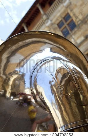 Close up of a tuba in a marching band