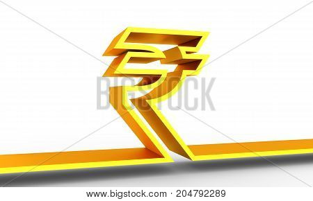 Indian Rupee outline symbol on white backdrop. 3D rendering