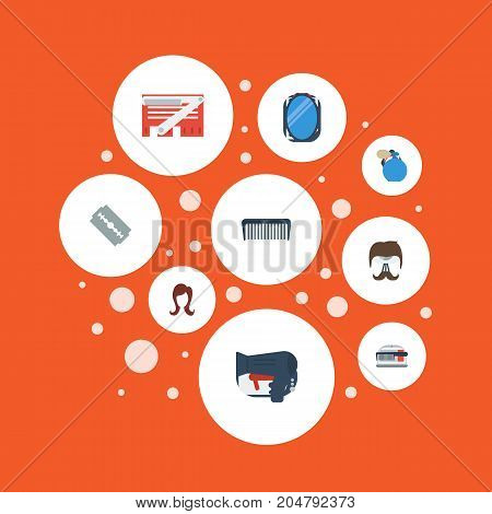 Flat Icons Deodorant, Blade, Looking-Glass And Other Vector Elements