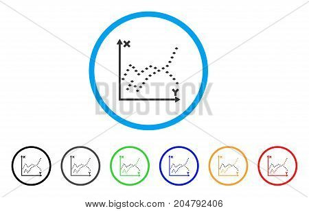 Dotted Functions Plot rounded icon. Style is a flat dotted functions plot grey symbol inside light blue circle with black, gray, green, blue, red, orange color versions.
