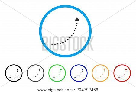 Dotted Growth Line rounded icon. Style is a flat dotted growth line grey symbol inside light blue circle with black, gray, green, blue, red, orange versions.