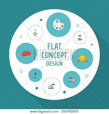 Flat Icons Dessert, Palette, Alcohol And Other Vector Elements