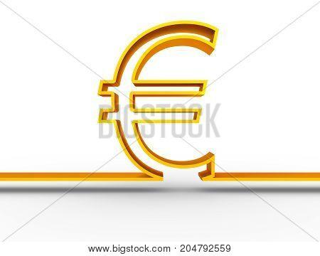 Euro outline symbol on white backdrop. 3D rendering