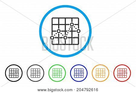 Dotted Line Grid Plot rounded icon. Style is a flat dotted line grid plot grey symbol inside light blue circle with black, gray, green, blue, red, orange color versions.