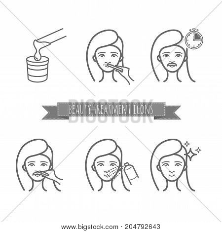 Removing facial hair by using sugaring or strip wax. Beauty treatment icons set for your design