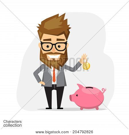 Businessman with a piggy bank. Flat design. Vector illustration. Isolated on white background.