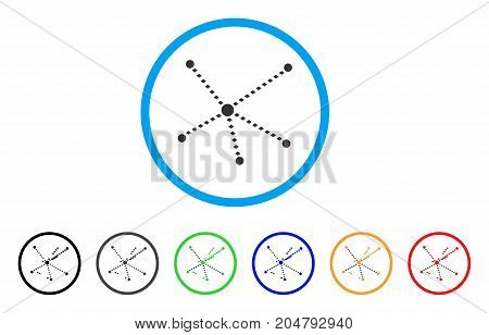 Dotted Relations rounded icon. Style is a flat dotted relations grey symbol inside light blue circle with black, gray, green, blue, red, orange color versions.