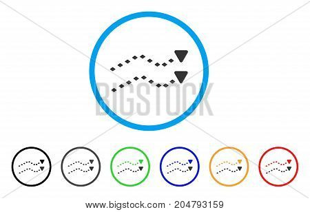 Dotted Trends rounded icon. Style is a flat dotted trends gray symbol inside light blue circle with black, gray, green, blue, red, orange versions. Vector designed for web and software interfaces.