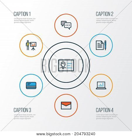 Business Colorful Outline Icons Set. Collection Of Bank Cash, Agreement, Id Badge And Other Elements