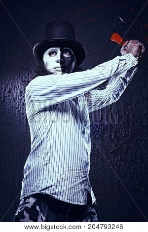 Maniac In A Mask With An Ax