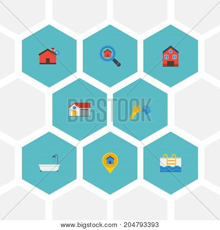 Flat Icons Property, Swimming, Pin And Other Vector Elements