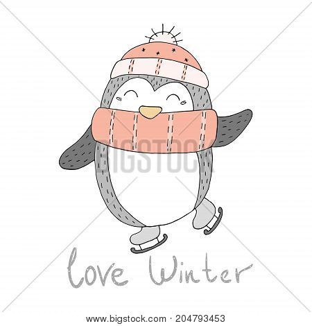 Hand drawn vector illustration with penguins. Printable templates.