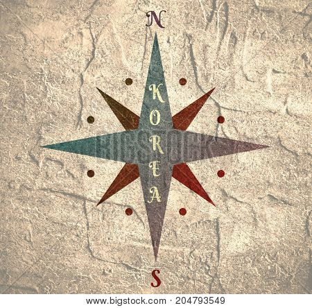 Vintage compass symbol with Korea text. Image relative to politic situation between South Korea and North Korea. Grunge distress texture.