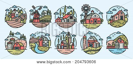 Collection of colorful logotypes with rural or countryside landscapes, farm buildings, windmills, hills and trees in modern line art style. Set of logos with country houses. Vector illustration