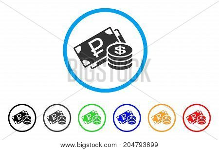 Rouble And Dollar Cash rounded icon. Style is a flat rouble and dollar cash gray symbol inside light blue circle with black, gray, green, blue, red, orange color versions.