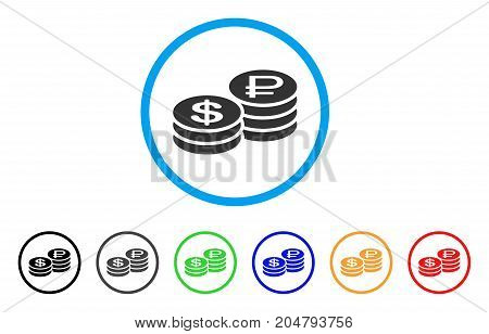 Rouble And Dollar Coins rounded icon. Style is a flat rouble and dollar coins grey symbol inside light blue circle with black, gray, green, blue, red, orange versions.
