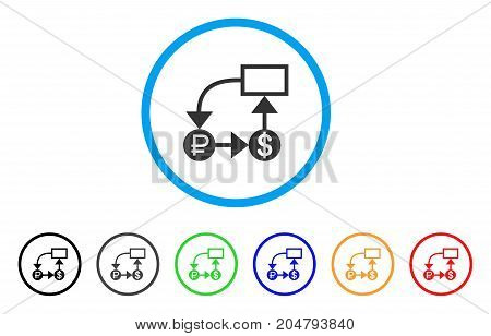 Rouble And Dollar Scheme rounded icon. Style is a flat rouble and dollar scheme gray symbol inside light blue circle with black, gray, green, blue, red, orange color versions.