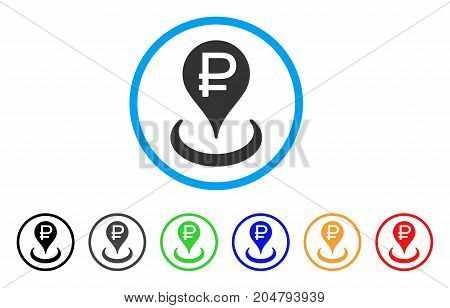 Rouble Bank Location rounded icon. Style is a flat rouble bank location grey symbol inside light blue circle with black, gray, green, blue, red, orange versions.