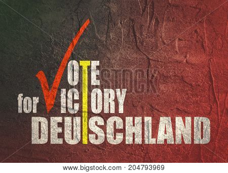 An illustration of an elections motivation quote - Vote for victory, Deutschland. Translated from german as Germany. Grunge distress texture.