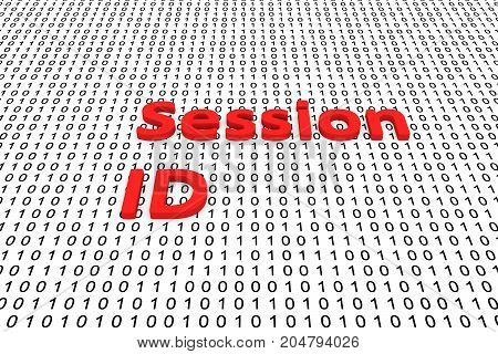 Session ID in the form of binary code, 3D illustration