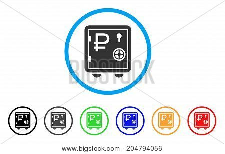 Rouble Bank Safe rounded icon. Style is a flat rouble bank safe gray symbol inside light blue circle with black, gray, green, blue, red, orange color versions.