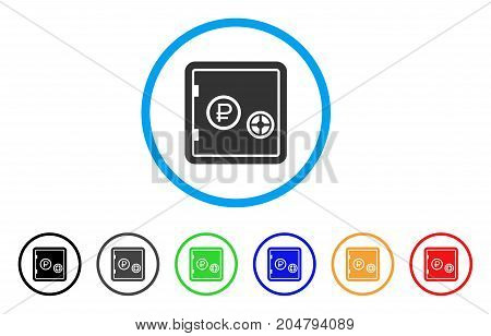 Rouble Bank Safe rounded icon. Style is a flat rouble bank safe grey symbol inside light blue circle with black, gray, green, blue, red, orange variants.