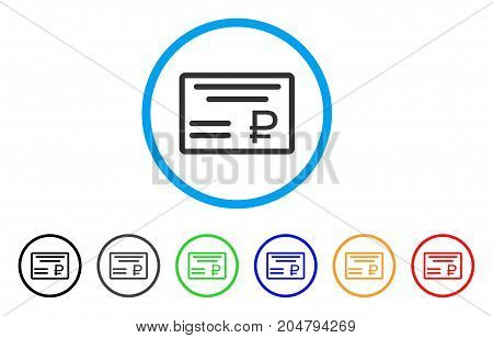 Rouble Cheque rounded icon. Style is a flat rouble cheque gray symbol inside light blue circle with black, gray, green, blue, red, orange versions. Vector designed for web and software interfaces.