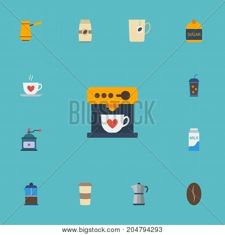 Flat Icons Plastic Cup, Sweetener, Coffeemaker And Other Vector Elements