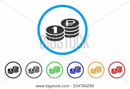 Rouble Coin Stacks rounded icon. Style is a flat rouble coin stacks gray symbol inside light blue circle with black, gray, green, blue, red, orange variants.