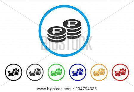 Rouble Coin Stacks rounded icon. Style is a flat rouble coin stacks grey symbol inside light blue circle with black, gray, green, blue, red, orange color versions.