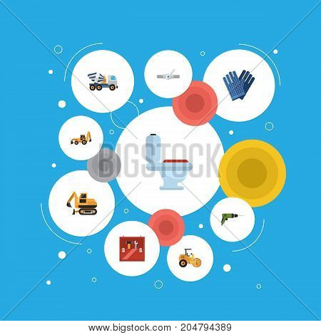 Flat Icons Restroom, Steamroller, Excavator And Other Vector Elements