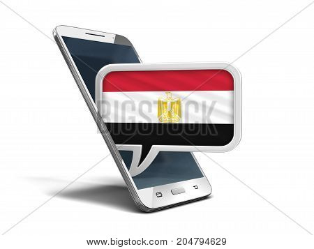 3d Illustration. Touchscreen smartphone and Speech bubble with Egyptian flag. Image with clipping path