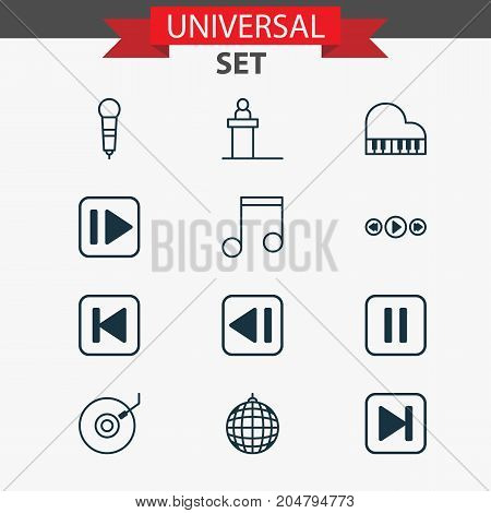 Music Icons Set. Collection Of Microphone, Run Song Back, Skip Song And Other Elements