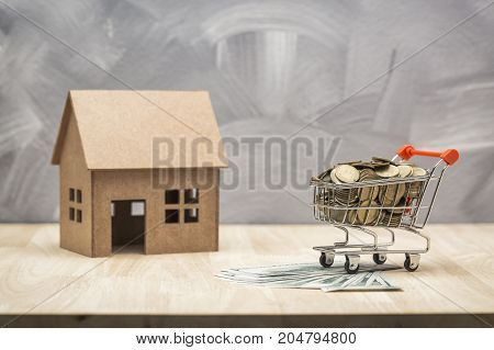 Savings money for buying a house or shopping piggy bank concept.