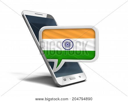 3d Illustration. Touchscreen smartphone and Speech bubble with Indian flag. Image with clipping path