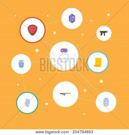 Flat Icons Protection, Warrior, Bulletproof And Other Vector Elements