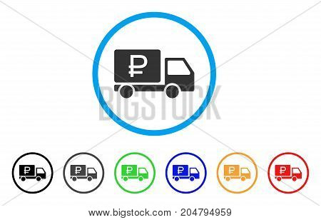 Rouble Shipment rounded icon. Style is a flat rouble shipment gray symbol inside light blue circle with black, gray, green, blue, red, orange color versions.