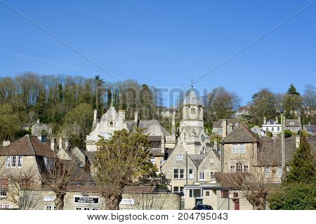 BRADFORD ON AVON, UK - MARCH 17, 2017: View of the picturesque Wiltshire town of Bradford on Avon a popular tourist destination, Bradford on Avon, Wiltshire, UK
