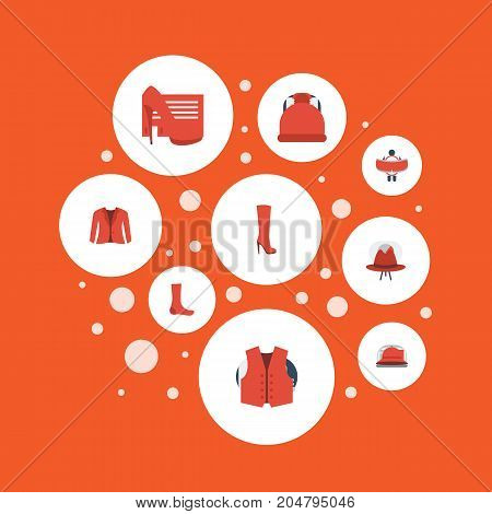 Flat Icons Elegant Headgear, Hosiery, Boots And Other Vector Elements